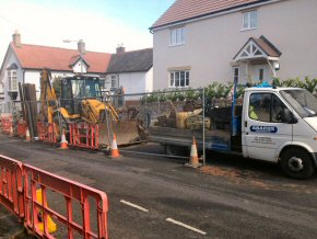 Deep drainage job in Taunton behind the Police station